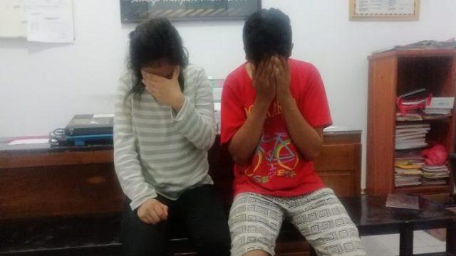 Kedua pasangan kekasih saat ditemui di ruangan interogasi Reserse Narkoba Mapolres Takalar, Kamis (11/4/2019). (ist)
