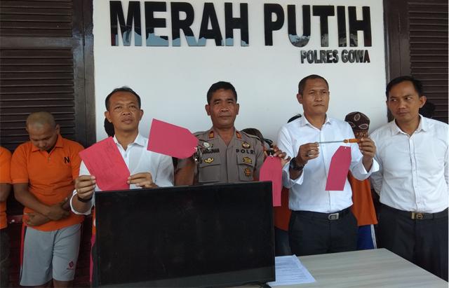 Press Conference 10 pelaku kasus 3C yang berhasil dibekuk Polres Gowa dalam kurun waktu sepekan