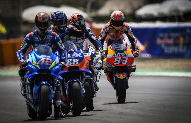 Pembalap Repsol Honda, Marc Marquez menjadi juara MotoGP Spanyol di Sirkuit Jerez, Minggu (5/5/2019). (Foto: Oficcial MotoGP)