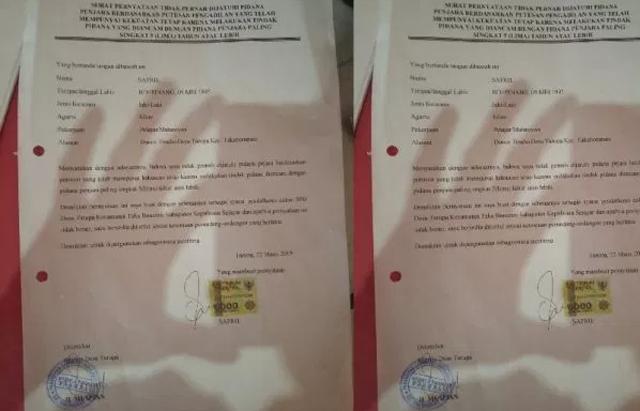 Surat keterangan tidak pernah disanksi adminstrasi yang diduga dipalsukan calon BPD Tarupa, Kecamatan Takabonerate, Kabupaten Selayar. (IST)