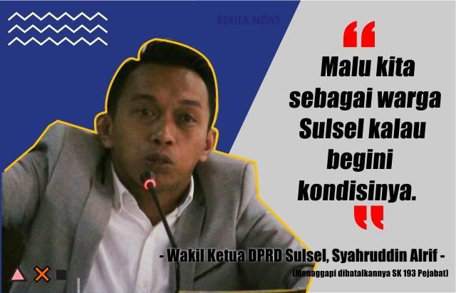 Wakil Ketua DPRD Sulsel, Syaharuddin Alrif. (IST/BERITA.NEWS)