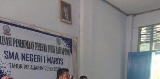 Kadisdik Sulsel Irman Yasin Limpo saat sosialisasi pendaftaran PPDB di SMA Negeri 1 Maros, Rabu (12/6/2019).