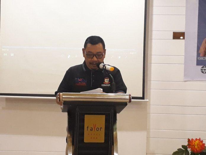 Asisten I Pemerintah Kota Makassar Azis Hasan saat membuka acara temu wartawan di Favor Makassar Hotel, Senin (15/7/19).(BERITA.NEWS/RATIH)