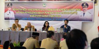 Suasana Self Assessment Data Indikator Kinerja Kunci (IKK) Laporan Penyelenggaraan Pemerintahan Daerah (LPPD) Kabupaten Gowa Tahun 2018 di Hotel Golden Tulip Makassar.
