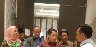 Rektor UIN Alauddin, Prof Dr Musafir MSi saat menghadiri pendaftaran dan penetapan kelulusan UM-PTKIN tahun 2019 di Hotel Haris Vertu, Jakarta (27/6/2019).