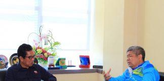 Kajati Sulselbar, Dr. Firdaus Dewilmar, SH.,M.Hum saat melalukan kunjungan kerja yang disambut oleh Rektor Unibos. Prof. Saleh Pallu, M.Eng di Ruang Rektor, Rabu (17/07/2019). (Berita.news/Ratih Sardianti Rosi).