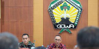 Suasana Rapat Forum Koordinasi Stabilitas Keamanan dan Ketertiban Masyarakat (Kamtibmas) di Baruga Karaeng Pattingalloang, Kantor Bupati Gowa. (BERITA.NEWS/ACP).