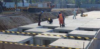 Proses Perampungan Proyek Anti Banjir Aquapond.