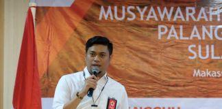Bupati Gowa, Adnan Purichta Ichsan sesaat setelah terpilih sebagai Ketua Umum Palang Merah Indonesia (PMI) Sulawesi Selatan (Sulsel) periode amanah 2018-2023.