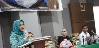 Ketua Dekranasda Kota Makassar, Murni Djamaluddin Iqbal saat memberikan sambutan di Hotel Tree. (BERITA.NEWS/Ratih Sardianti Rosi).