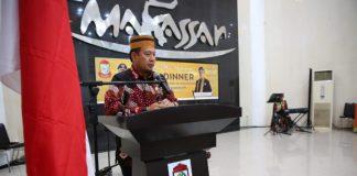 Pj Wali Kota Makassar Iqbal Suhaeb saat memberi sambutan di Baruga Anging Mamiri, Rabu (4/9/2019). (BERITA.NEWS/Ratih Sardianti Rosi).