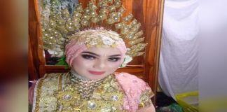Foto Nur fikayanti (19) saat melangsungka pernikahannya. (BERITA.NEWS/IL).