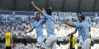 Pemain Manchester City merayakan gol ke gawang Watford. (AP Photo/Rui Vieira).