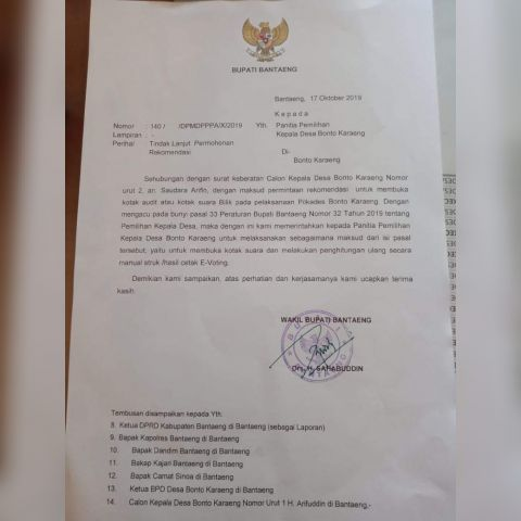 Surat Rekomendasi Wabup Bantaeng H. Sahabuddin. (BERITA.NEWS/Saharuddin).
