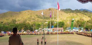 Bupati Enrekang berikan sambutan di hadapan para siswa saat pembukaan Jambore Pramuka. (BERITA.NEWS/Dodo).