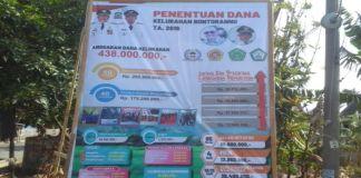 Plt Llurah Bontorannu Muslimin Roa dan Papan Anggaran dana kelurahan TA 2019. (BERITA.NEWS/Muh Ilham).