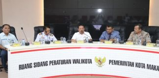 Sekda Kota Makassar Muh. Ansar pimpin Rapat TPID di Ruang Rapat Sipakellebbi Lt.2, Balai Kota Makassar. (BERITA.NEWS/Ratih Sardianti Rosi).