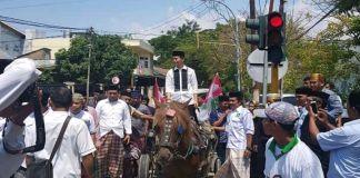 Jamaluddin Syamsir diatas Delman atau Dokar saat menuju kantor PKB. (BERITA.NEWS/IL).