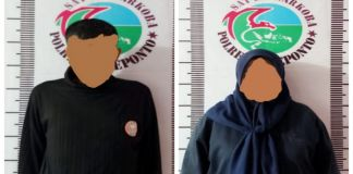 Oknum anggota polisi Polres Jeneponto AIPDA AK bersama teman perempuannya AS. (BERITA.NEWS/Muh Ilham).