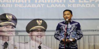Bupati Bantaeng Ilham Azikin saat memberikan sambutan dalam acara lepas sambut 3 unsur Muspida Bantaeng. (BERITA.NEWS/Saharuddin).