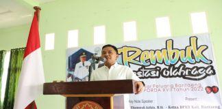 Bupati Bantaeng, Ilham Azikin saat berbicara dihadapan para peserta Rembuk prestasi olahraga yang digelar oleh KONI. (BERITA.NEWS/Saharuddin).