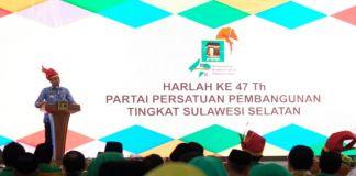 Bupati Gowa, Adnan Purichta Ichsan saat menghadiri Harlah ke-47 tahun PPP Tingkat Sulawesi Selatan. (Foto: BERITA.NEWS/Putri).