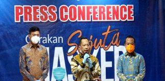 Press Conference Gerakan Sejuta Masker bersama Menteri Dalam Negeri, Tito Karnavian didampingi Bupati Gowa dan Wakil Gubernur Sulsel. (Foto: berita.news/Putri).