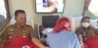 Camat Pallangga, Taufik M Akib saat melakukan donor darah di Puskesmas Pallangga. (Foto: berita.news/ist).