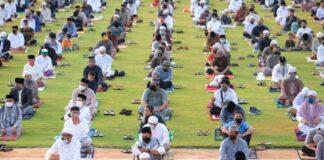Suasana Salat Idul Adha Pemerintah Kabupaten Gowa terapkan protokol kesehatan. (Foto: berita.news/ist).
