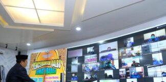 Pencerahan Qalbu Jumat Ibadah (PQJI) yang digelar secara Virtual di Peace Room A'Kio Kantor Bupati Gowa. (Foto: berita.news/ist).