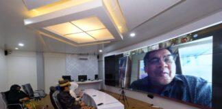 Kepala BPK Perwakilan Sulsel, Wahyu Priyono saat menggelar pertemuan Pemeriksaan Kinerja Penanganan Covid-19 di Kabupaten Gowa secara Virtual. (Foto: berita.news/Putri).