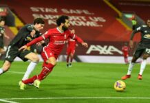 Mohamed Salah dalam laga Liverpool vs Manchester United. (twitter.com/LFC)