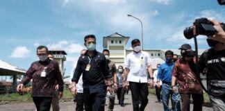 Menteri Pertanian RI, Syahrul Yasin Limpo (SYL) saat meninjau RPH di Kelurahan Tamarunang Kecamatan Somba Opu. (Foto: berita.news/Putri).