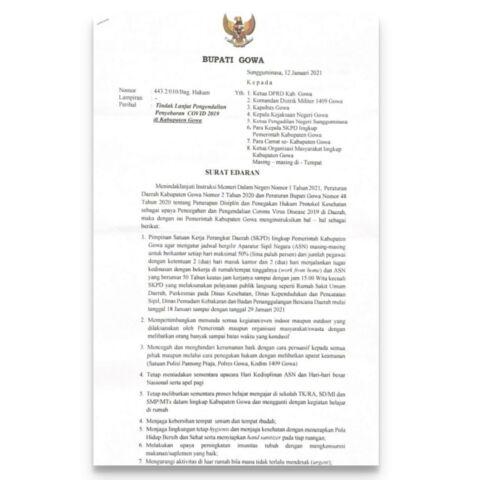 Surat Edaran Bupati Gowa, Adnan Purichta Ichsan tentang pemberlakuan WFH. (Foto: berita.news/putri).