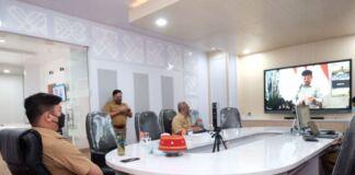 Pembukaan Rapat Kerja Nasional Pembangunan Pertanian Tahun 2021 secara virtual zoom di Peace Room A'Kio, Kantor Bupati Gowa. (Foto: berita.news/Putri).