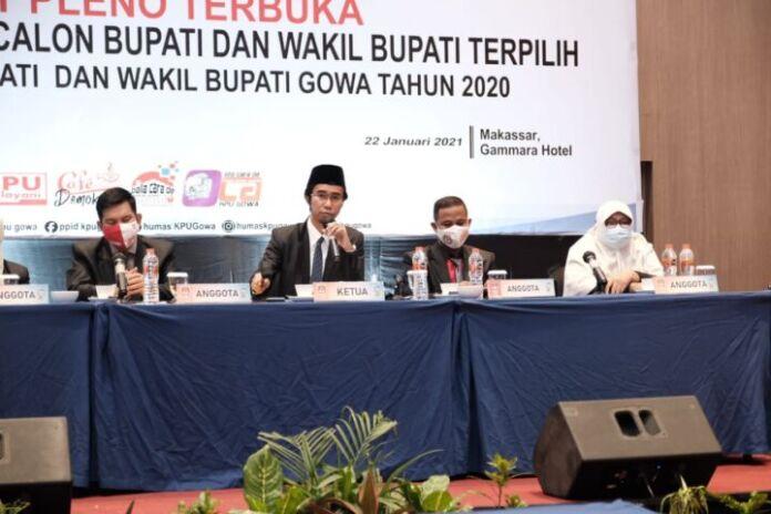 Rapat Pleno Terbuka Penetapan Pasangan Calon Bupati dan Wakil Bupati Terpilih pada Pemilihan Bupati dan Wakil Bupati Kabupaten Gowa Tahun 2020 di Gammara Hotel Makassar. (Foto: berita.news/Putri).